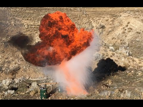 Dropping a Can of Liquid Oxygen Into Burning Oil
