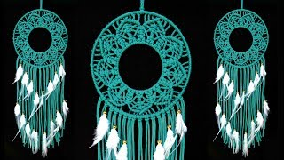 How to Make Square Knot Pattern Macrame Wall Hanging - DIY Macrame Dream Catcher