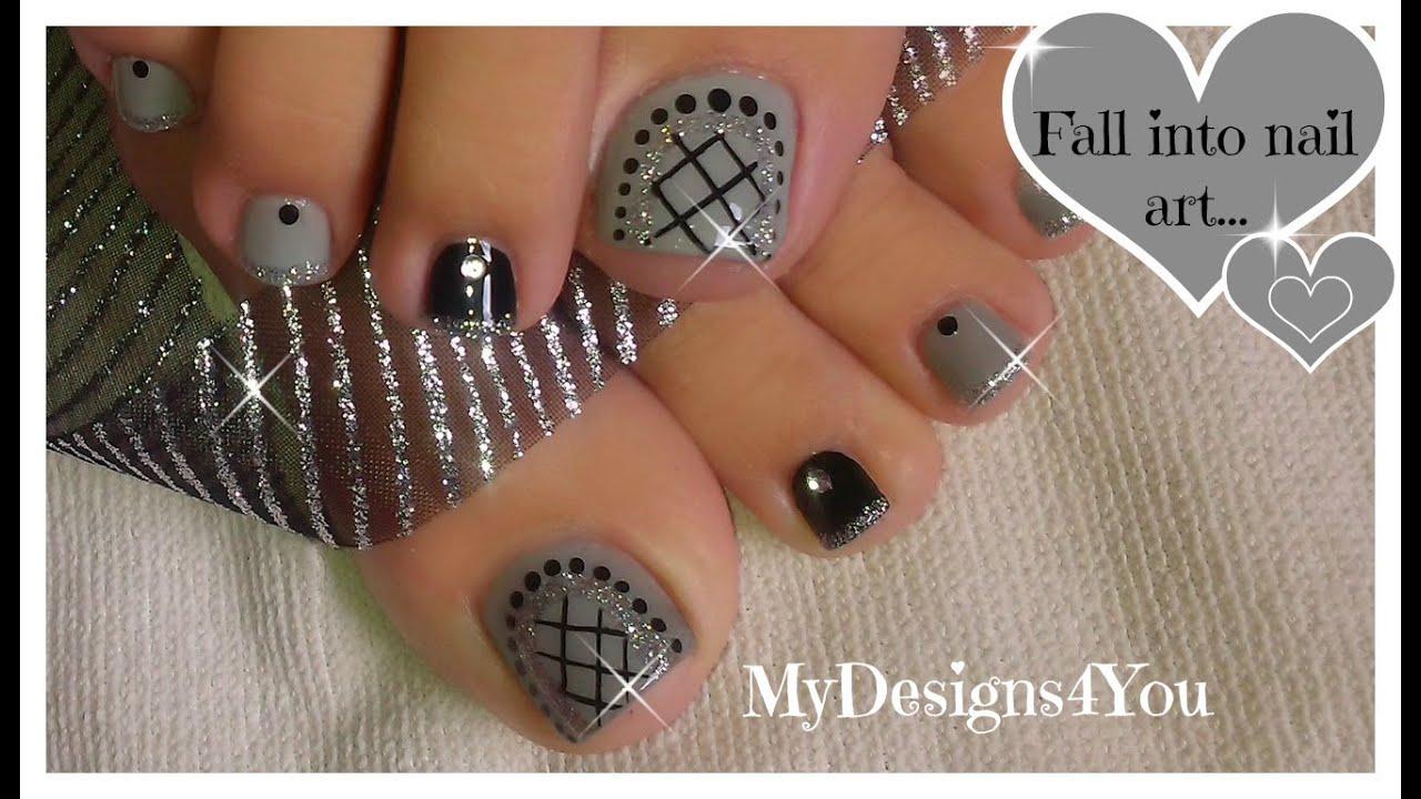 Easy Toenail Art Design | Grey Fishnet Pedicure ♥ Diseño de Uñas de ...