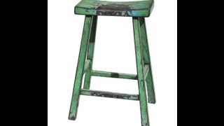 Rustic Green Color Solid Wood Bar Stool F920