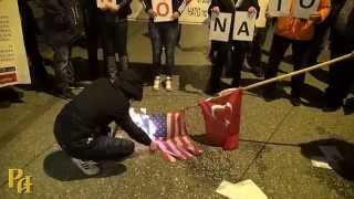 Греки сожгли сожгли турецкий и американский флаги 1m