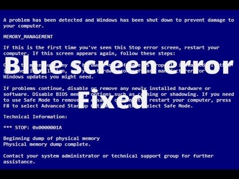 how to fix blue screen error/blue screen management error windows 7/8