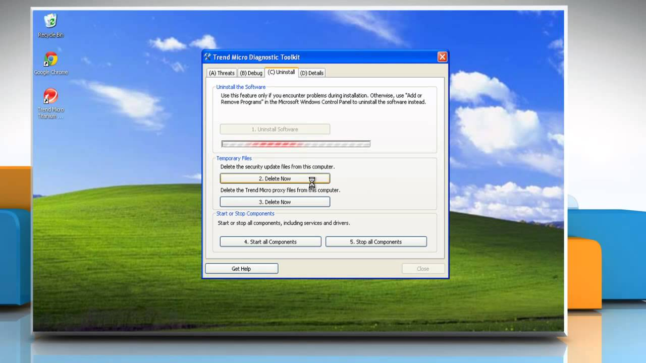 How to remove Trend Micro® security software from Windows® XP without  password