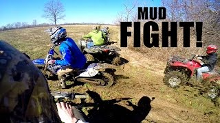 Dirt Bikes vs ATVs - MUD FIGHT