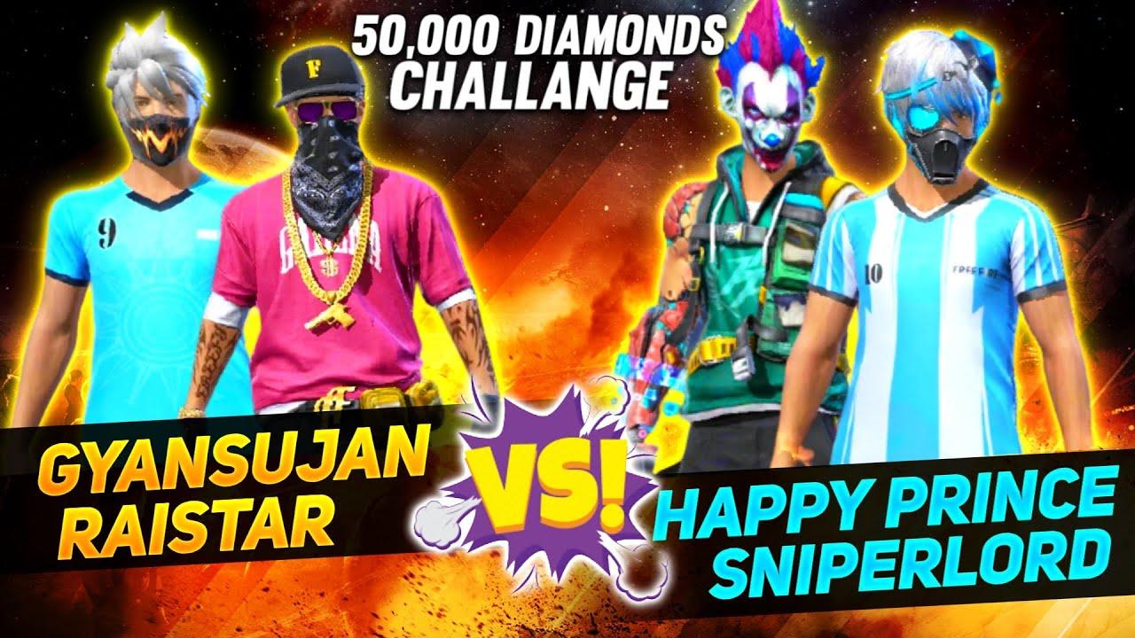 """Raistar Vs Hacker Sniper""""Lord 🤣50000 Diamonds Challenge Clash Squad    Garena Free Fire"""