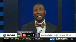 Ryan Clark react to Packers def. Vikings 23-10; Aaron Rodgers: 216 Yds, Int; Cousins: 122 Yds, TD
