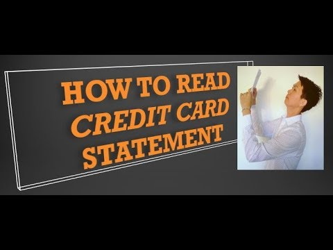 Credit card statement. how to read and understand it.