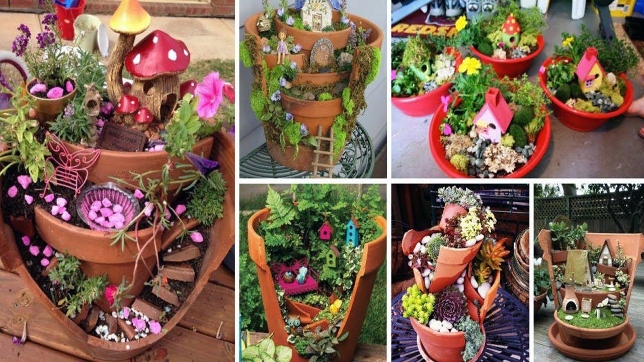DIY Broken Pot Fairy Garden Ideas - YouTube