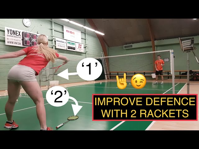 BADMINTON EXERCISE #47 - IMPROVE YOUR DEFENCE WITH 2 RACKETS