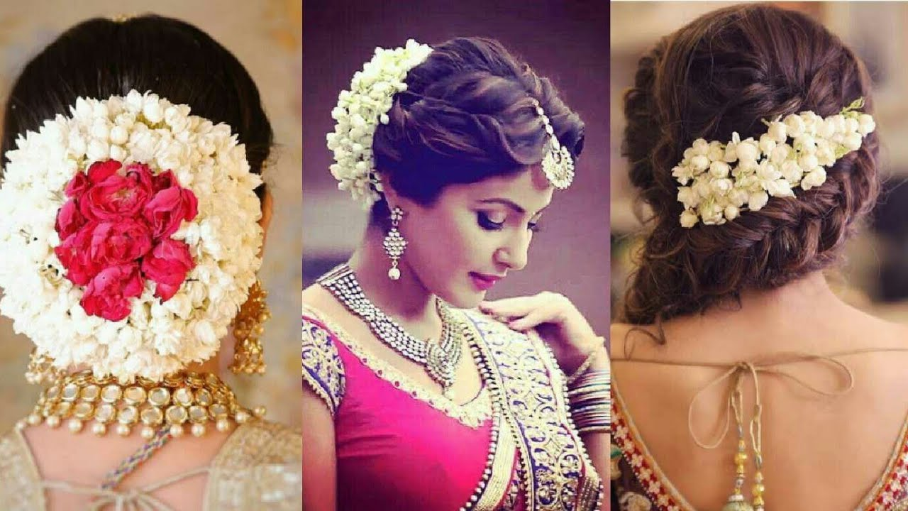 latest gajra hairstyle for wedding / hair bun with flower