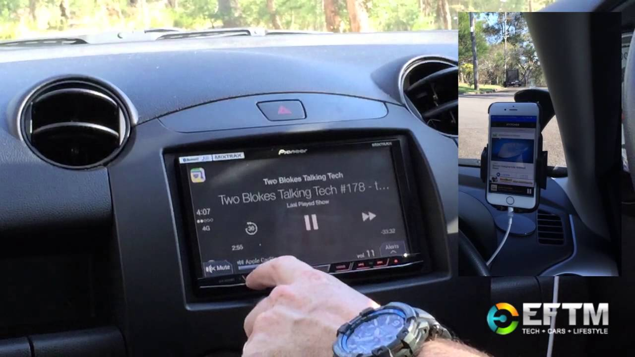 driving with apple carplay : demonstrated on a pioneer stereo in a