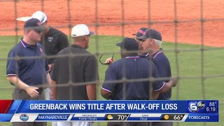 Greenback wins state title on after walk-off loss