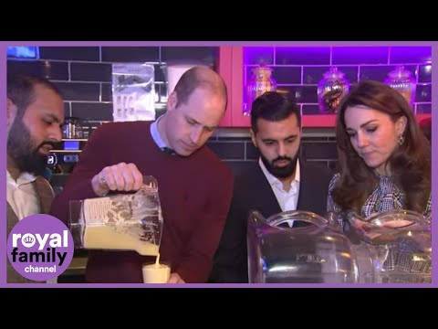 The Duke And Duchess Of Cambridge Make Milkshakes At MyLahore Restaurant In Bradford