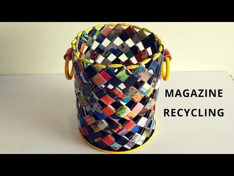 How to make a magazine basket||Paper woven basket||Magazine recycling||IRIS Craft Corner 23