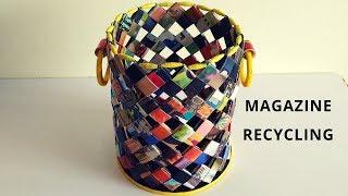 How to make a magazine basket  Paper woven basket  Magazine recycling  IRIS Craft Corner 23