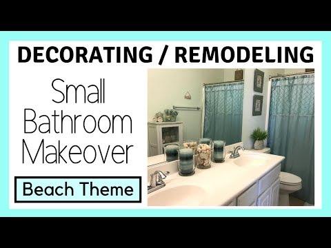 DIY Small Bathroom Makeover - Beach Theme | Themes N Things