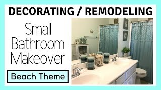 Diy Small Bathroom Makeover   Beach Theme   Themes N Things