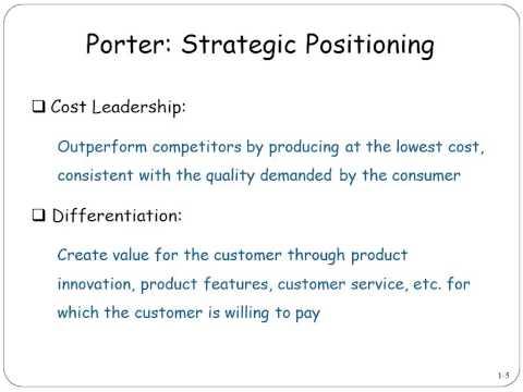 Porter - Strategic Positioning: Cost leadership vs. Differentiation