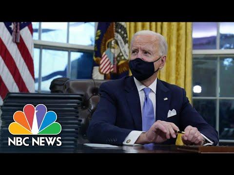 Biden Takes Immediate Action On First 100 Days Agenda | NBC Nightly News