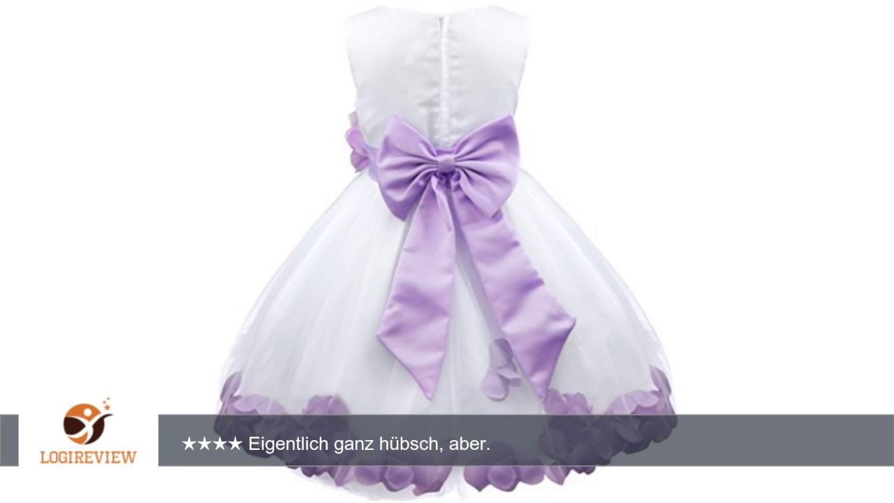 iEFiEL Mädchen Kleid Pinzessin Blumen-Mädchen Kinder Weiß Kleid ...