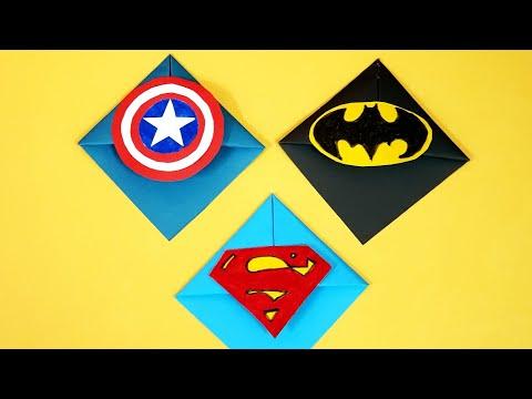 How to make superheroes corner bookmarks, batman, superman, captain America