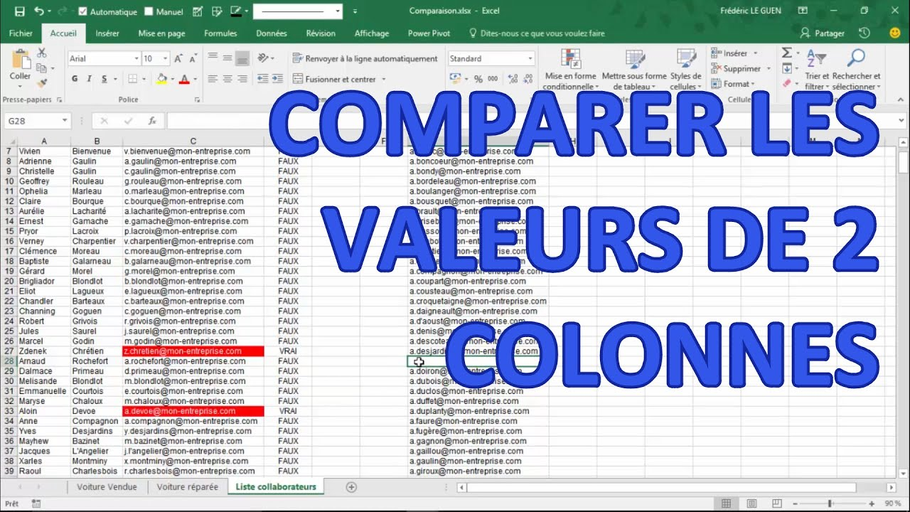 comparer 2 fichiers excel mac