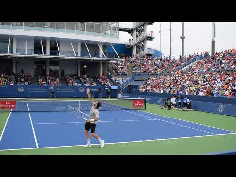 Novak Djokovic vs Adrian Mannarino | Cincinnati 2018 2nd Set 6th game Court Level View