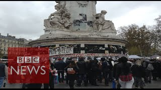 Scenes at Place de la République (360 video) BBC News