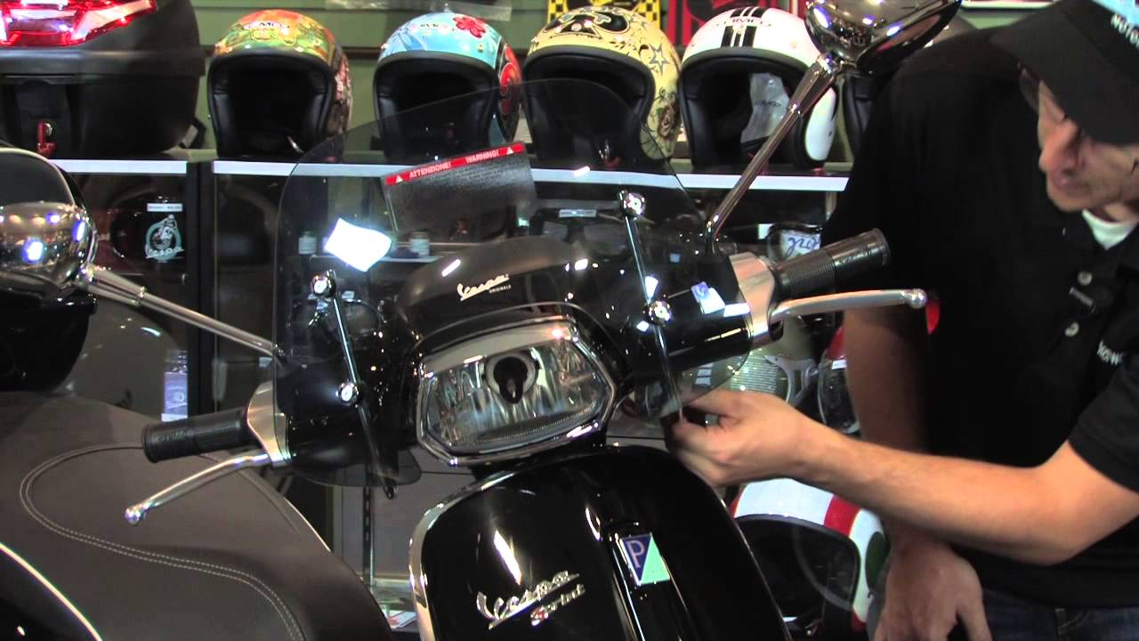 factory small tinted windshield for vespa sprint 150 - youtube