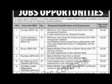 Post office jobs in Pakistan sindh 2018