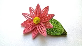 Quilling Flowers Tutorial: Quilling flower and  Leaf wiht  a comb tutorial. Creative Paper.