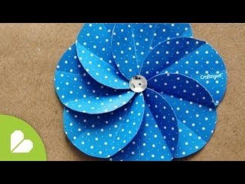 How to make paper scrapbook flower youtube how diy scrapbooking mightylinksfo