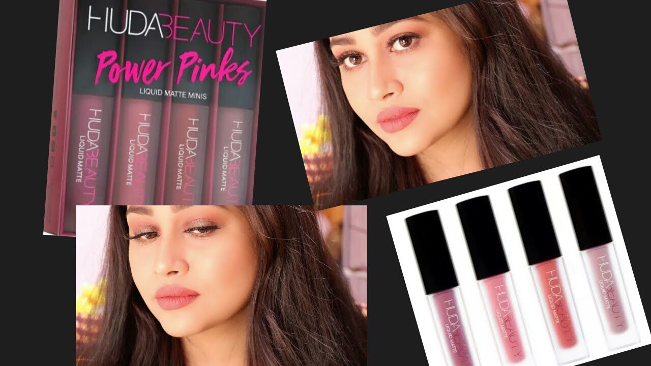 Huda Beauty Liquid Matte Minis Power Pink Swatches Review