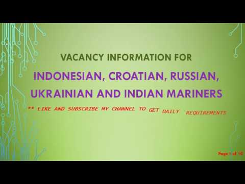 Marine Jobs vacancies for Russian, Croatian, Indonesian, Ukr