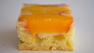 Перевёрнутый пирог с персиками. Много фруктов + нежный бисквит