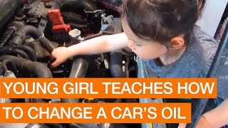 Young Girl Teaches How to Changes Car's Oil