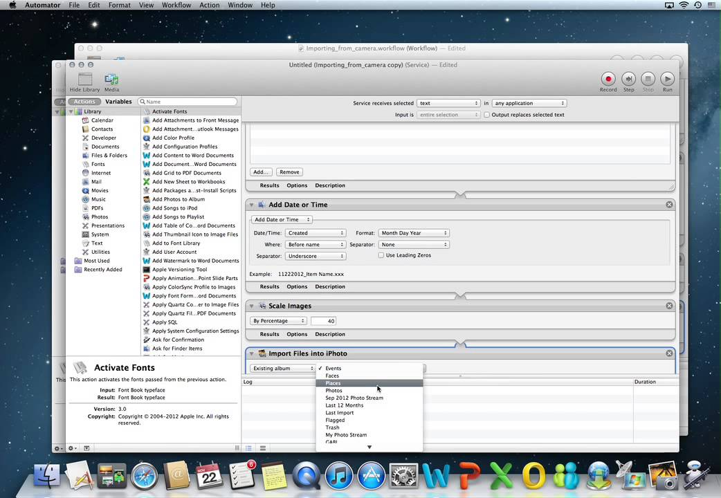 MAC OS X Automator building a service
