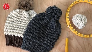 LOOM KNITTING Hat Pattern EASY Garter Stitch Beanie Slouchy