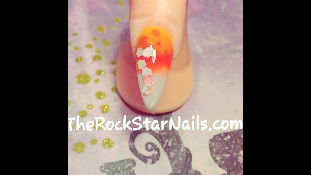 Candy Corn Nails Acrylic Nails Tutorial Candy