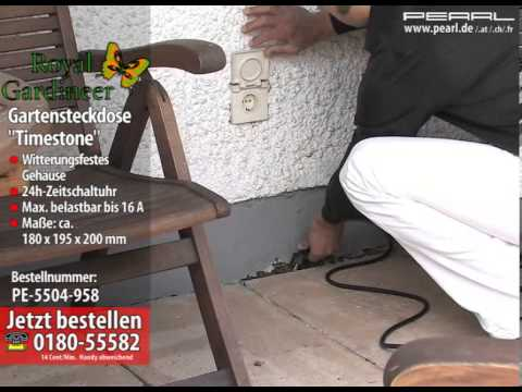 royal gardineer gartensteckdose mit zeitschaltuhr ip44 230v youtube. Black Bedroom Furniture Sets. Home Design Ideas