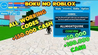 TOUS les CODES ''WORKING'' 150K CASH BOKU NO ROBLOX REMASTERED