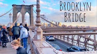 Walking Across the Brooklyn Bridge in New York City