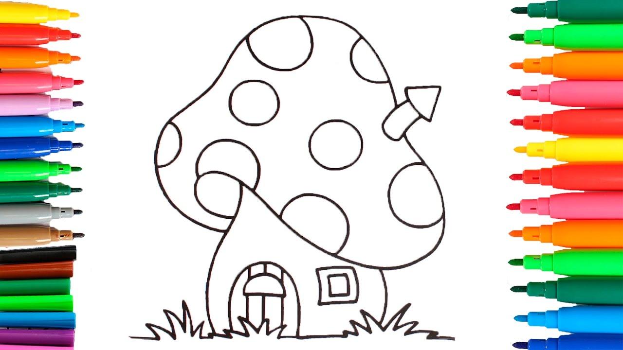 Como dibujar y colorear la casa de los pitufos colorear for Pintar en casa