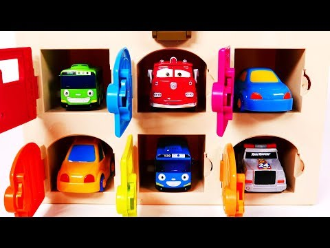 Garage and Toy Car Vehicles Learn Colors for Children