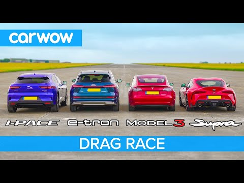 Toyota Supra Drag Races Tesla Model 3 in Gas VS Electric Duel