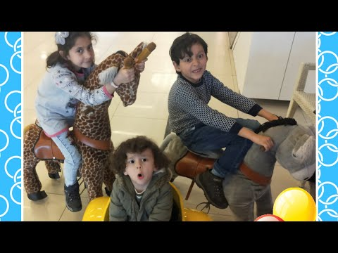 Deniz Ali Sarı Arabaya Bindi 🚖 Faruk Cem Eşekle 🐎 Tuğçe Zürafa Ile 🦒 Peşinden Gitti 🤩 Kids Video