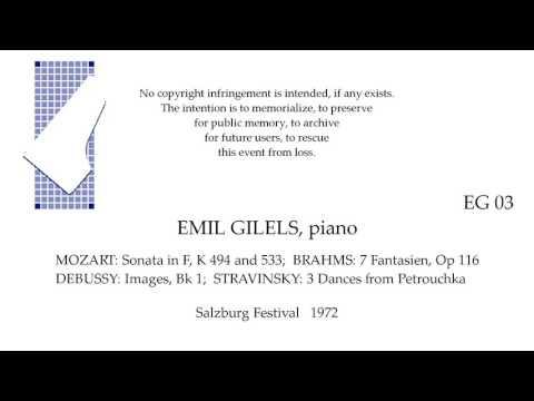 EMIL GILELS Live Recital 1972   MOZART BRAHMS DEBUSSY STRAVINSKY  SALZBURG