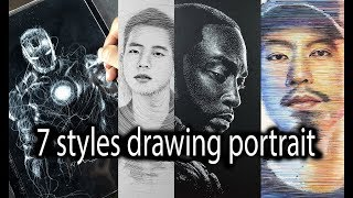 7 Unique Styles of  portrait drawing by DP ART DRAWING
