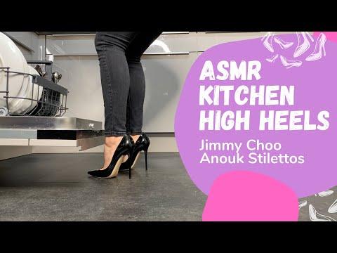 ASMR kitchen tiding up in Jimmy Choo Anouk high heels stilettos by Lady Kim