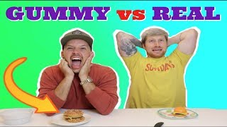 GUMMY FOOD VS REAL FOOD!! (EXTREME! *Eating giant alligator and frogs!) Video
